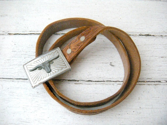 Vintage Womens Tooled Leather Belt / Chambers Belt Co Arizona /  with Silver Steer Head Buckle