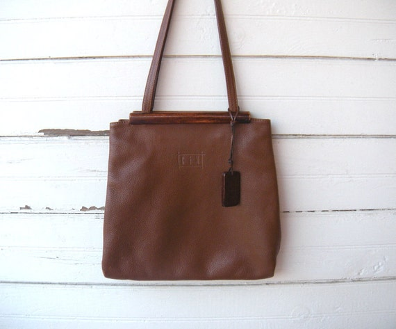 Vintage Brown Leather Bag with Wood Frame