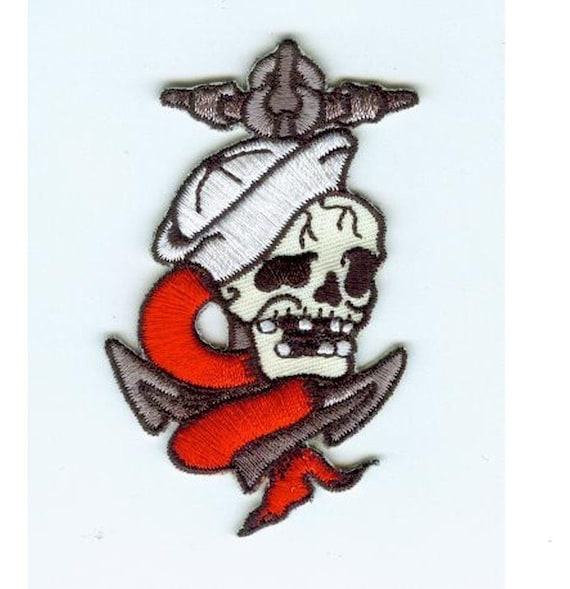 Embroidered Nautical sailor skull with anchor