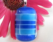 Blue Striped Fused Glass Pendant