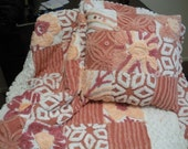 Chenille Baby Quilt & Decorative Pillow Peachy Vintage Chenille