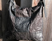 Distressed Black and Brown Leather Bag with Adjustable Strap (no.160)