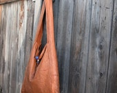 Distressed Brown Leather Sling Bag with African Beads Closure