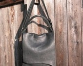 Minimalist Natural Edge Black Leather Bag with a Handle and Adjustable Strap Made to Order