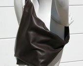 Distressed Dark Brown Leather Sling Fold-over Adjustable Strap Bag Made to Order for coleyco