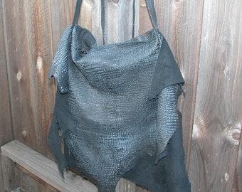 Embossed Black Lamb Natural Edge Leather Bag Made to Order