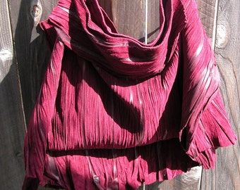 Burgundy Suede Natural Edge Leather Bag Made to Order