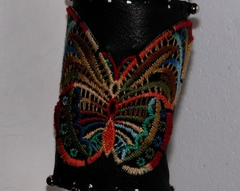 Vintage Butterfly Applique Leather Cuff