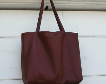 Cognac Leather Tote Bag Made to Order
