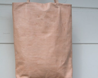 Distressed Natural Vegetable Tanned  Leather Tote Bag