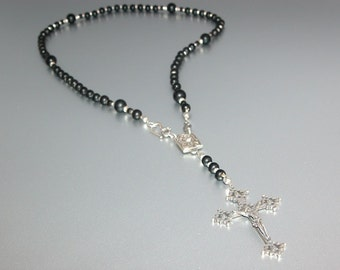 Matte Onyx Rosary with Gothic Crucifix (Short) (no.23a)