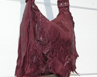 Burgundy Washed Lamb Leather Bag with Adjustable Belt Buckle Strap Made to Order