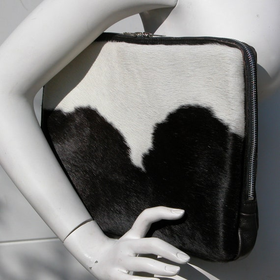 Brown and White Cow Hair Hide and Brown Leather Clutch and/or Mac Pro Case Made to Order