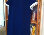 Plus Size Vintage Navy Dress With Cream Trim