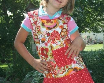 Children's Retro Apron - Childs Full Apron - Kids Apron - Fun Apron - Childs Apron - Toddler Apron