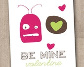 Printable DIY Valentines Day Cards Little Pink Monster and Hearts