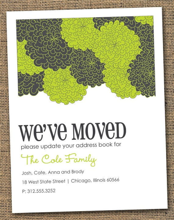 Set of 10 Printed Lime Green and Charcoal Grey Hydrangea Flowers Change of Address Moving Announcements