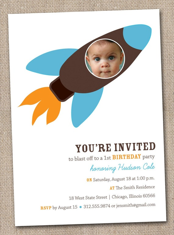 Printable Blue Orange and Brown Rocketship Gender Neutral DIY Photo Birthday Party Invitation