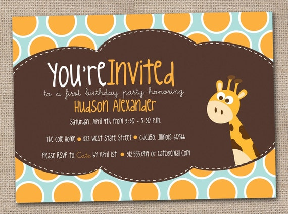 Giraffe Birthday Party Invitations Kids Printable DIY Design