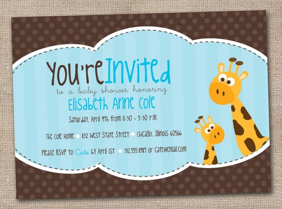 Giraffe Baby Shower Invitation Printable Digital Design in Polka Dots and Stripes