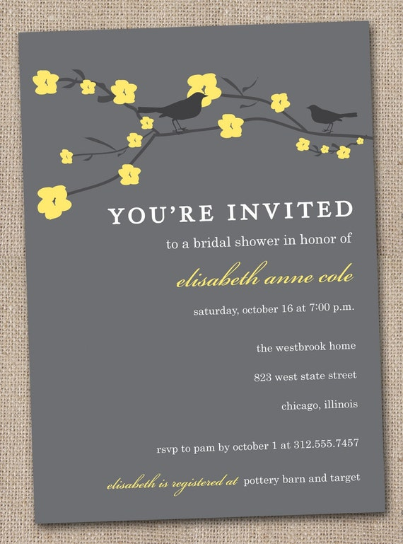 Printable Charcoal and Yellow Cherry Blossoms and Sparrow Love Birds DIY Bridal Shower Invitations