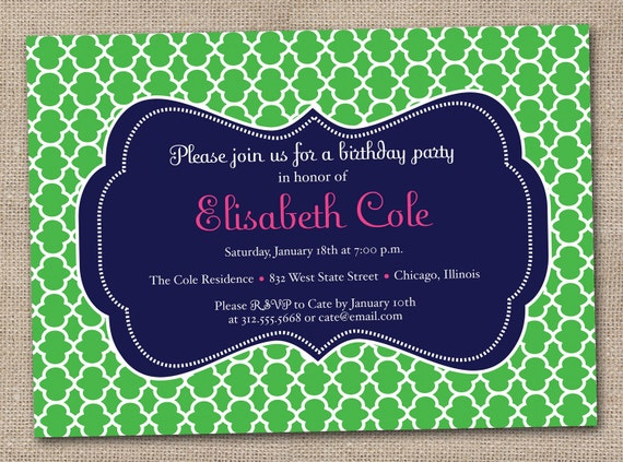 Printable Birthday Party Invitations Quatrefoil Pattern in Kelly Green Navy Blue and Pink