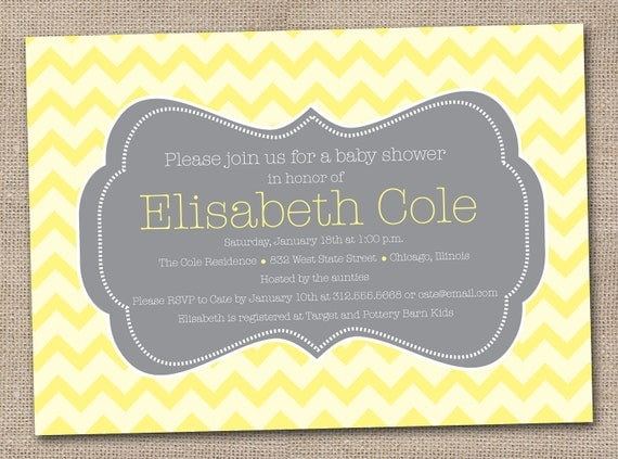 Printable Baby Shower Invitations Yellow and Grey Chevron Stripes DIY Design
