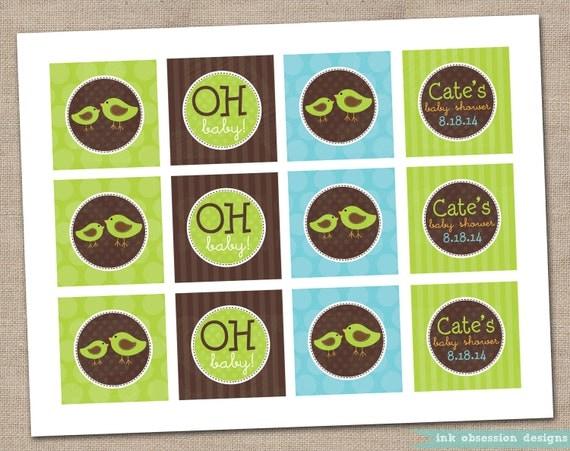 Printable Cupcake Toppers Green Chickadees and Polka Dots