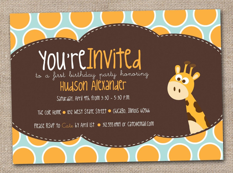 giraffe birthday party invitations kids printable diy design 🔎zoom