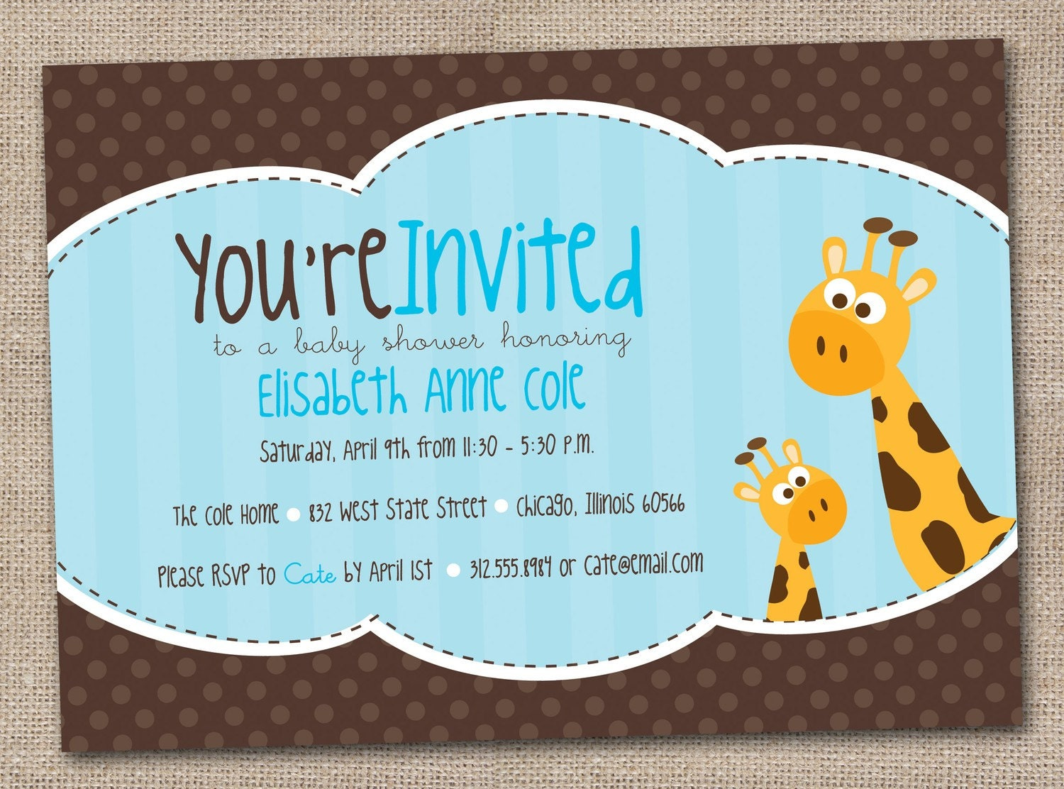 giraffe baby shower invitation printable digital design in