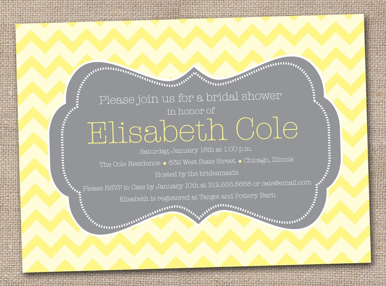 Yellow Grey Wedding Invitations: Printable Bridal Shower Invitations Yellow And Gray Chevron