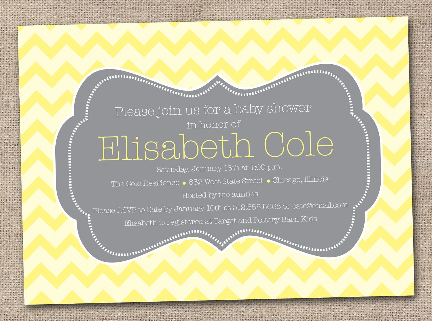 printable baby shower invitations yellow by inkobsessiondesigns
