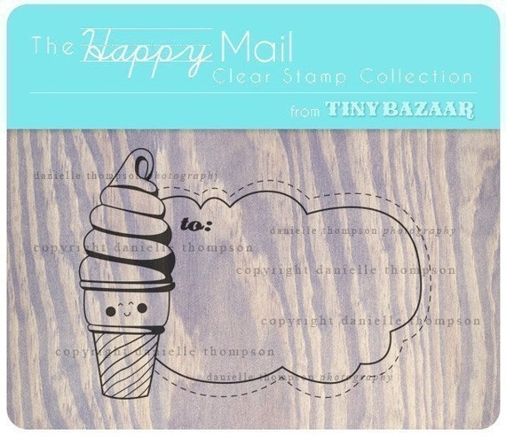 Happy Mail Clear Stamp Collection - Ice Cream Addressee Stamp