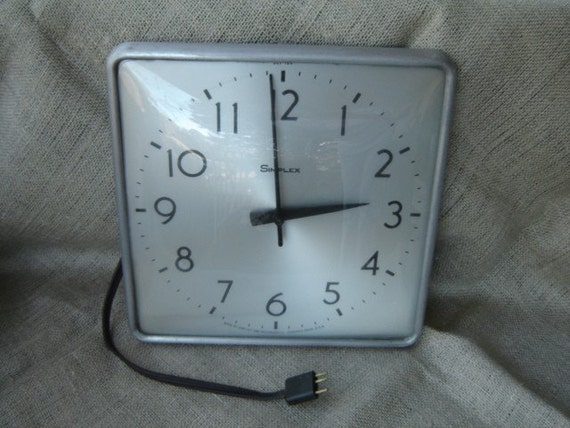 Vintage Industrial Simplex Wall Clock School House 1960