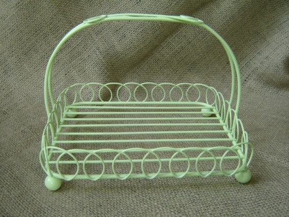 Vintage Upcycled Lime Green Metal Wire Basket