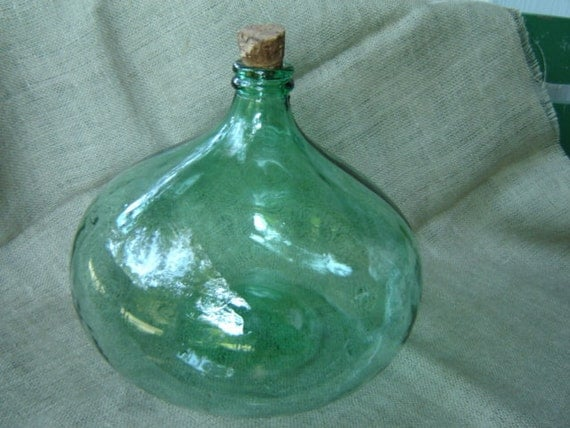 vintage large green glass wine bottle beach cottage reserved