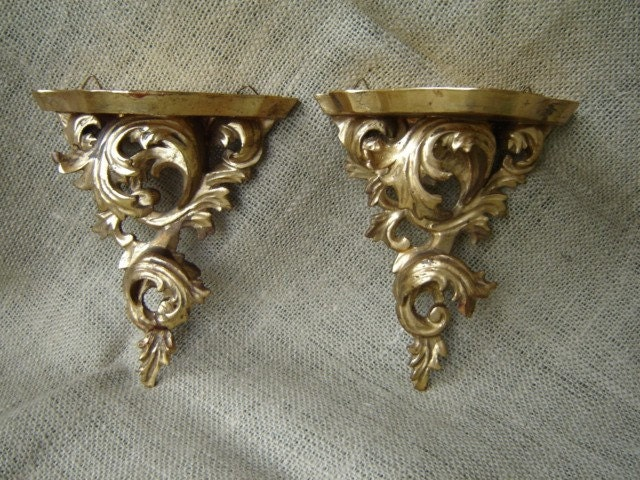 Vintage Pair Gold Gilt Wood Wall Shelf Sconce By Magark On