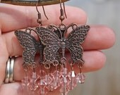 Antique Copper Butterflies with Pink Swarovski Crystals