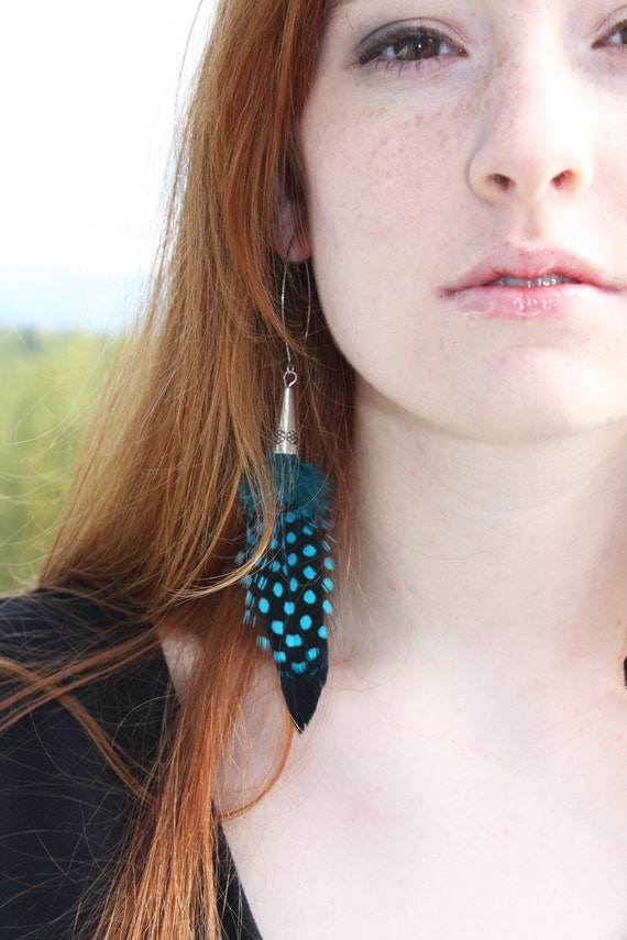 RESERVED for Christine: Blue Polka Dot Feather Earrings