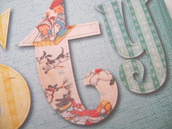 large christmas vintage image die cut letters by With large die cut letters