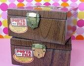 Price reduced - Vintage Porta File faux bois metal boxes, storage, organization, office supplies