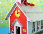 Fisher Price school house, children, kids, toy, 1971- vintage by Kitsch Cafe