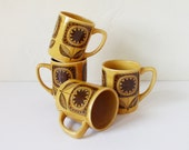 Sunflower vintage coffee mugs, set of four, Made in Japan