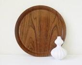 Faux bois round metal tray