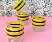 Yellow and black stripe short glasses