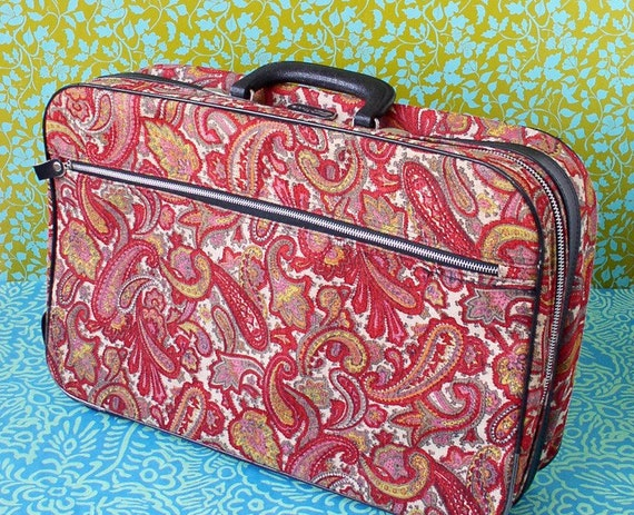 Red paisley children's suitcase, luggage