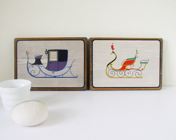 Vintage sleigh illustrations, wall-hangings