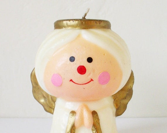 Kitschy angel Christmas candle, Holiday decoration
