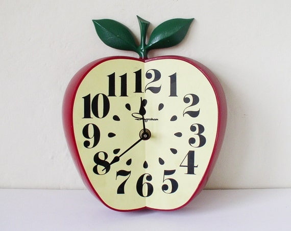 Vintage Apple Shaped Wall Clock