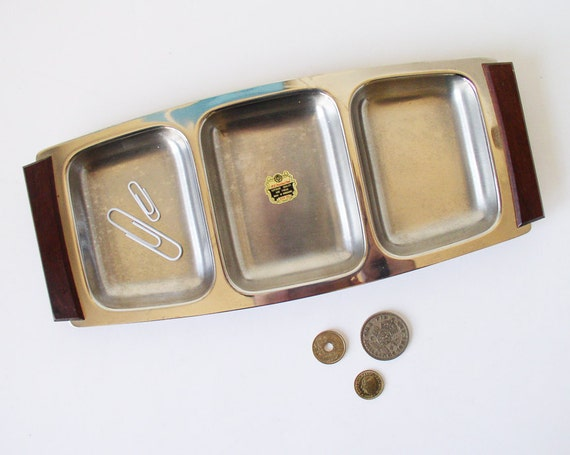 Mid-Century modern metal tray with wood handles